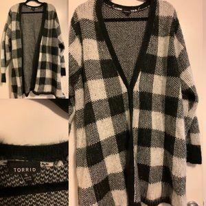 Oversized long length fuzzy snap button cardigan